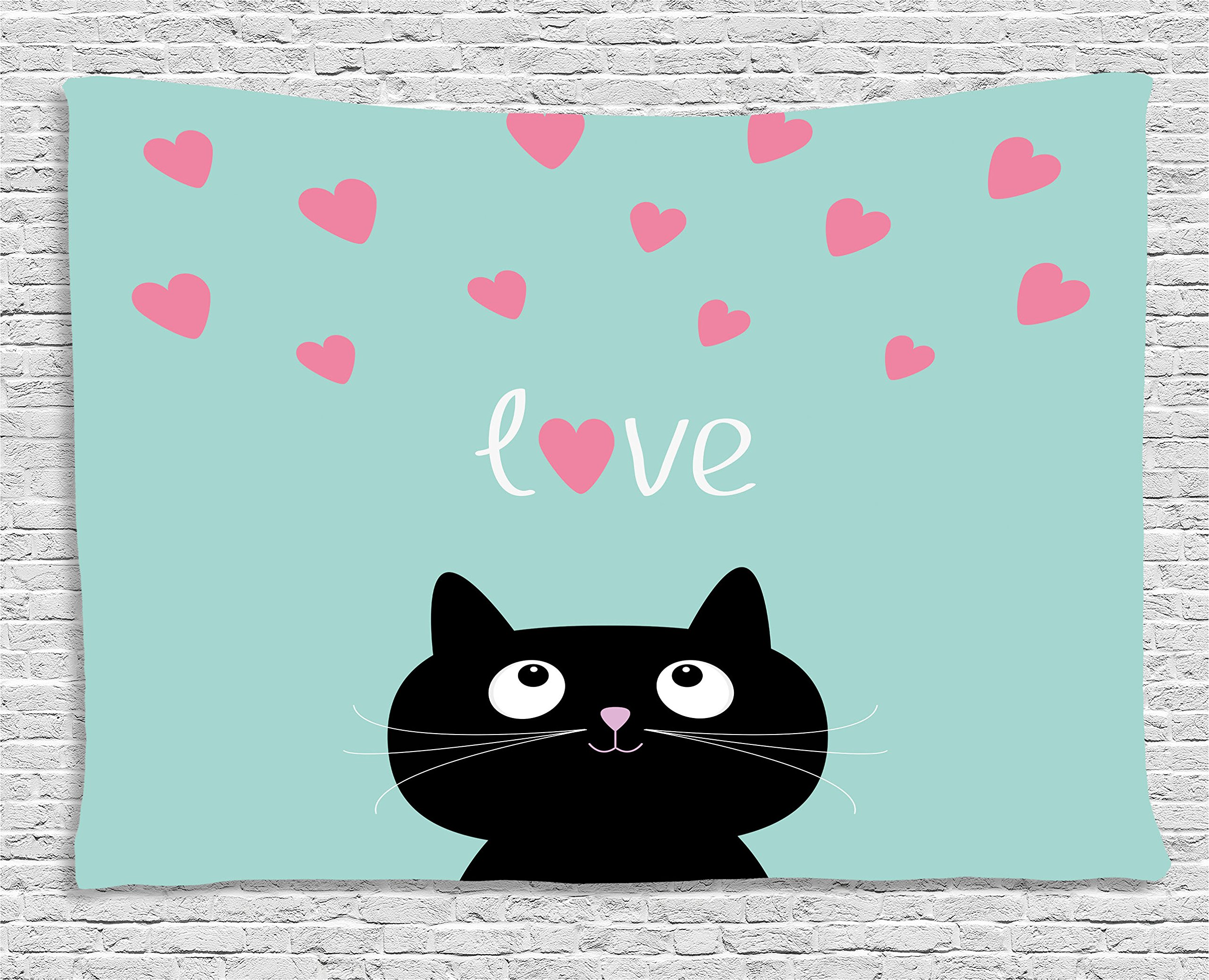Ambesonne Valentines Tapestry by, Kitty Heart Figures Cat Lovely Companions Kids Children Illustration, Wall Hanging for Bedroom Living Room Dorm, 80WX60L Inches, Seafoam Pink Black