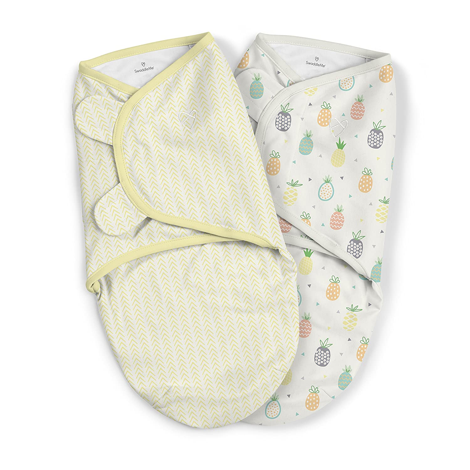 SwaddleMe Original Organic Swaddle – Size Small/Medium, 0-3 Months, 2-Pack (Pineapple Party )