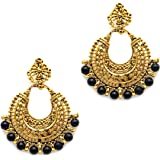 iKraft Oxidized German Gold Finish Chandbali Earrings with Multi Color Beads Antique Chandelier Earrings for Women
