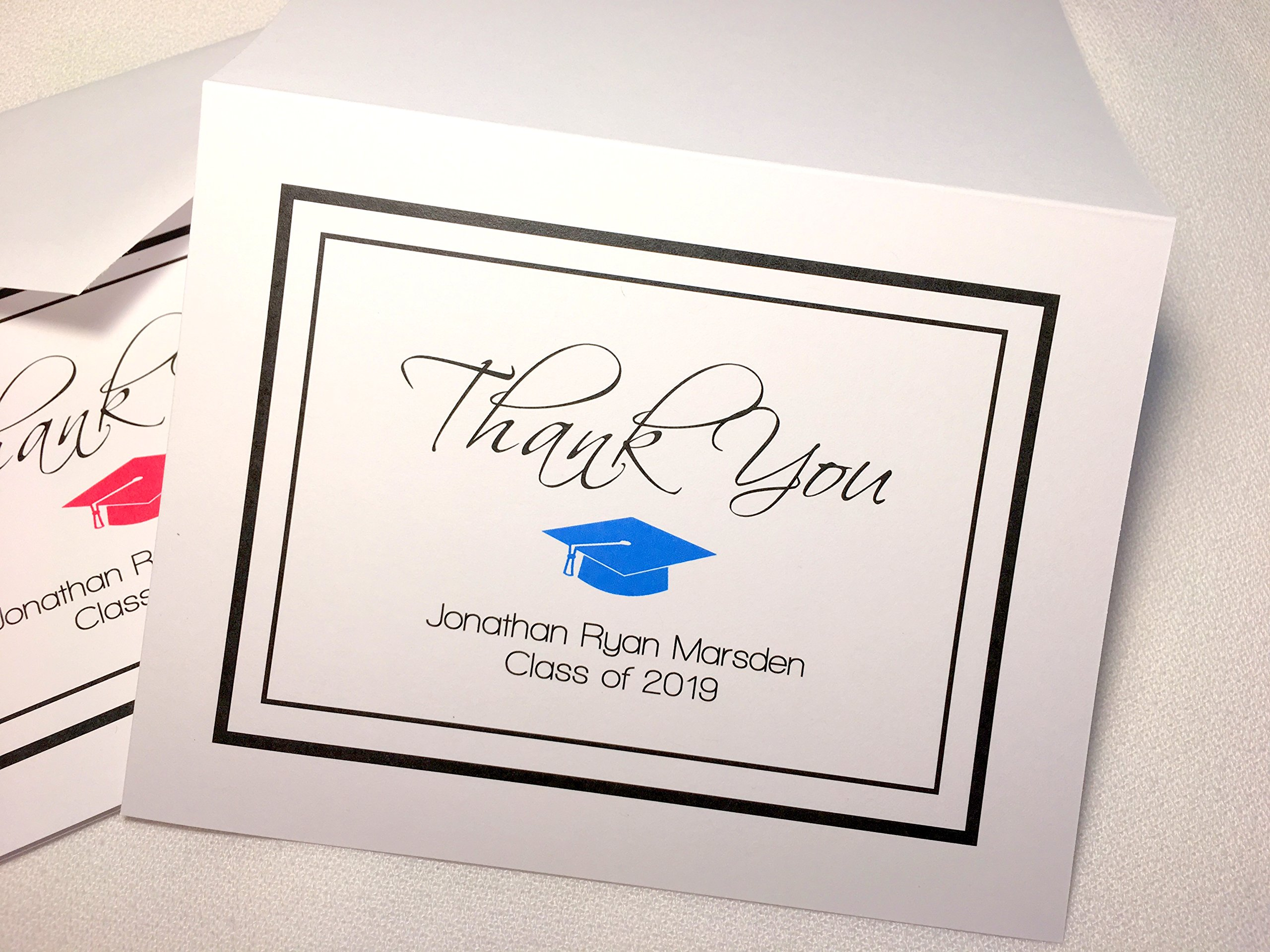 Personalized Graduation Thank You Note Cards with Envelopes. Choose Your School Color! Custom Printed. Choose sets of 50 or 20. Blank Inside. High Quality, White folding cards. (20)