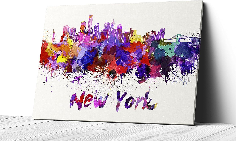 Qutenest Colorful City Splash Skyline Art On Gallery Wrapped Canvas Wall Art Print New York Posters Prints Amazon Com