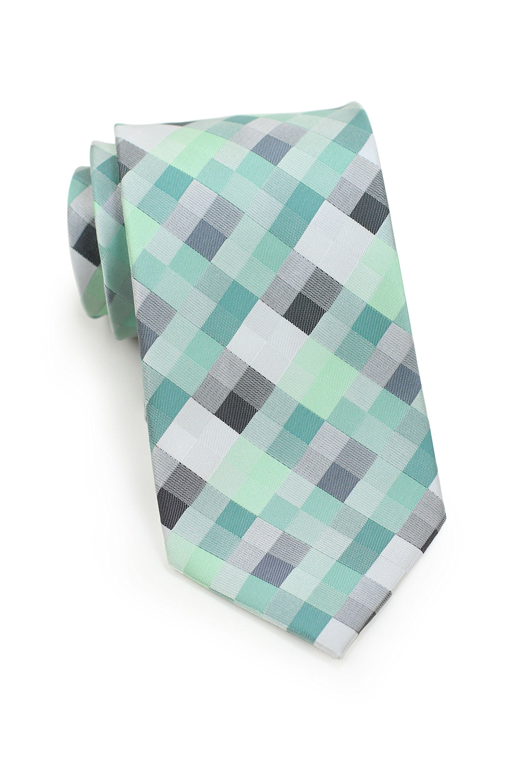Bows-N-Ties Men's Necktie Patchwork Plaid Microfiber Satin Tie 3.25 Inches (Mint Green and Silver)