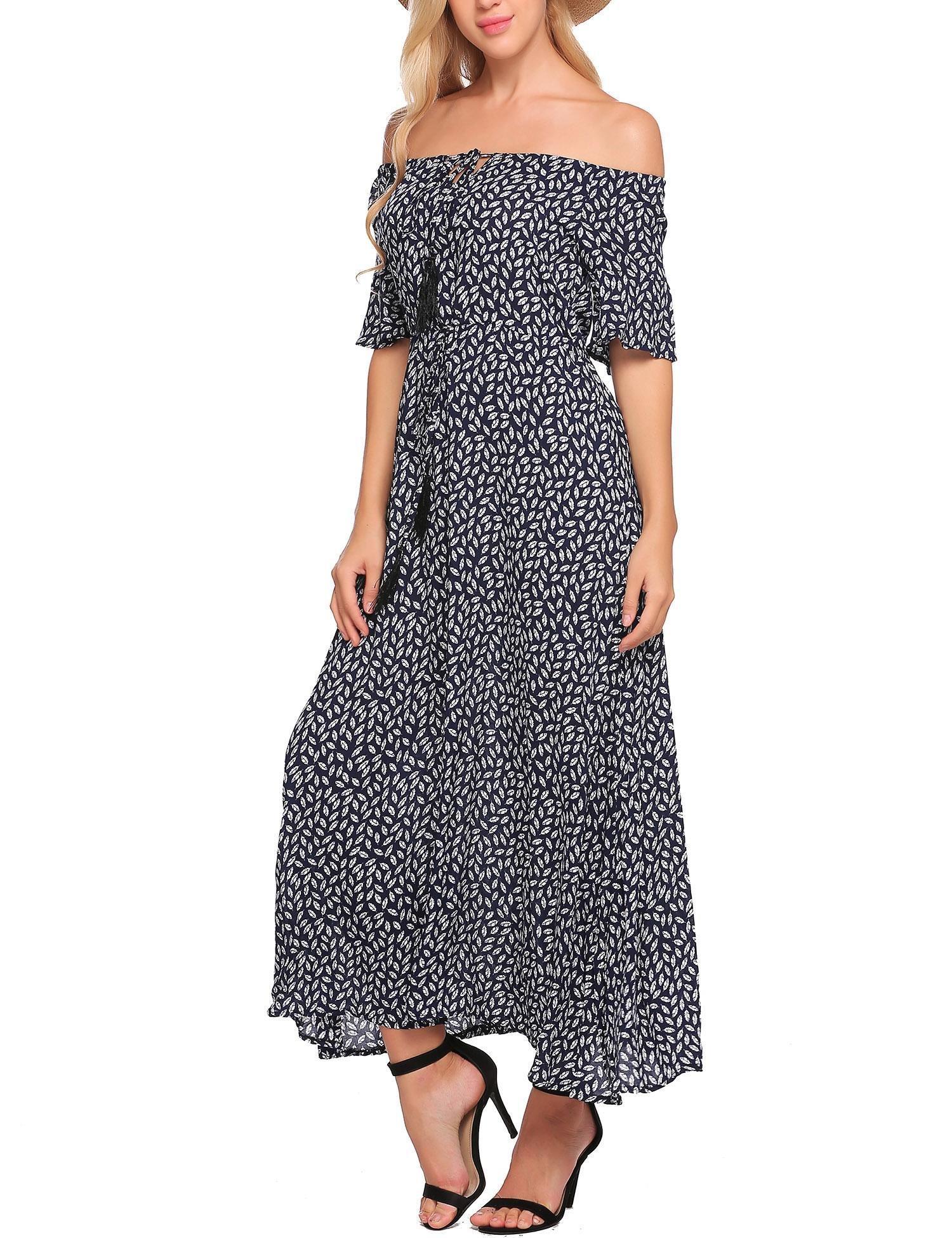 Zeagoo Women Boho Off the Shoulder Floral Print Casual Swing Maxi Dress Navy blue S