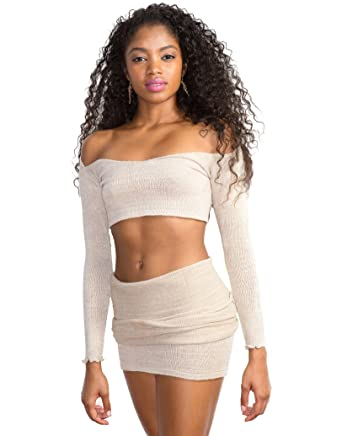 Bubble Gum Pink Petite Sexy 2 Pc Dance Set Off Shoulder Stretch Knit Bare Belly Crop