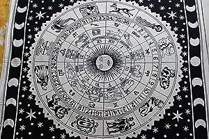 "Handicrunch Wall Hanging Bizarre Zodiac Sign Indian Tapestry 80""x 55"", Astrol."