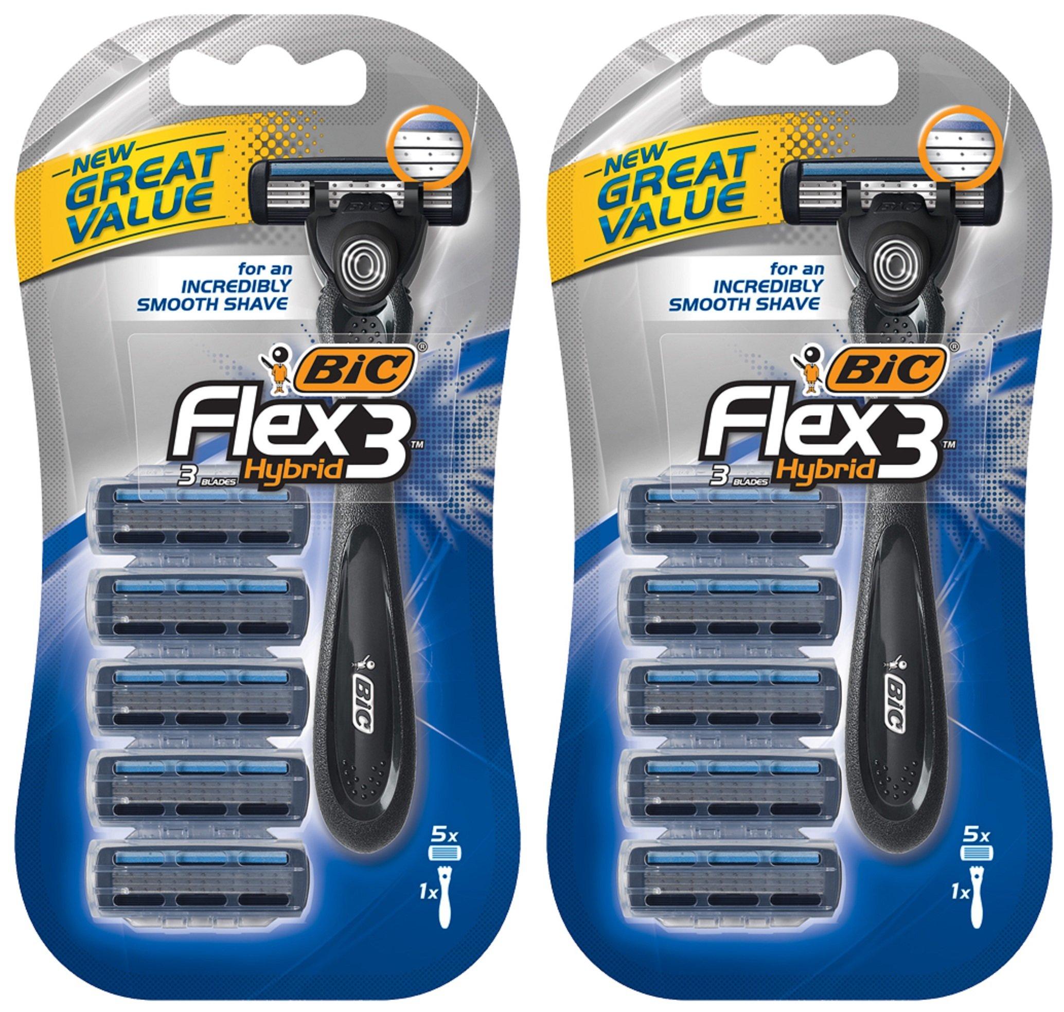 Bic Flex 3 Hybrid Razor For Men - 5 Cartridges & 1 Handle Per Package - Pack of 2 Packages