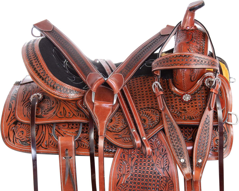 acerugs美しいブラウンアンティークWestern Pleasure ranching TrailレザーHorseサドルタック15