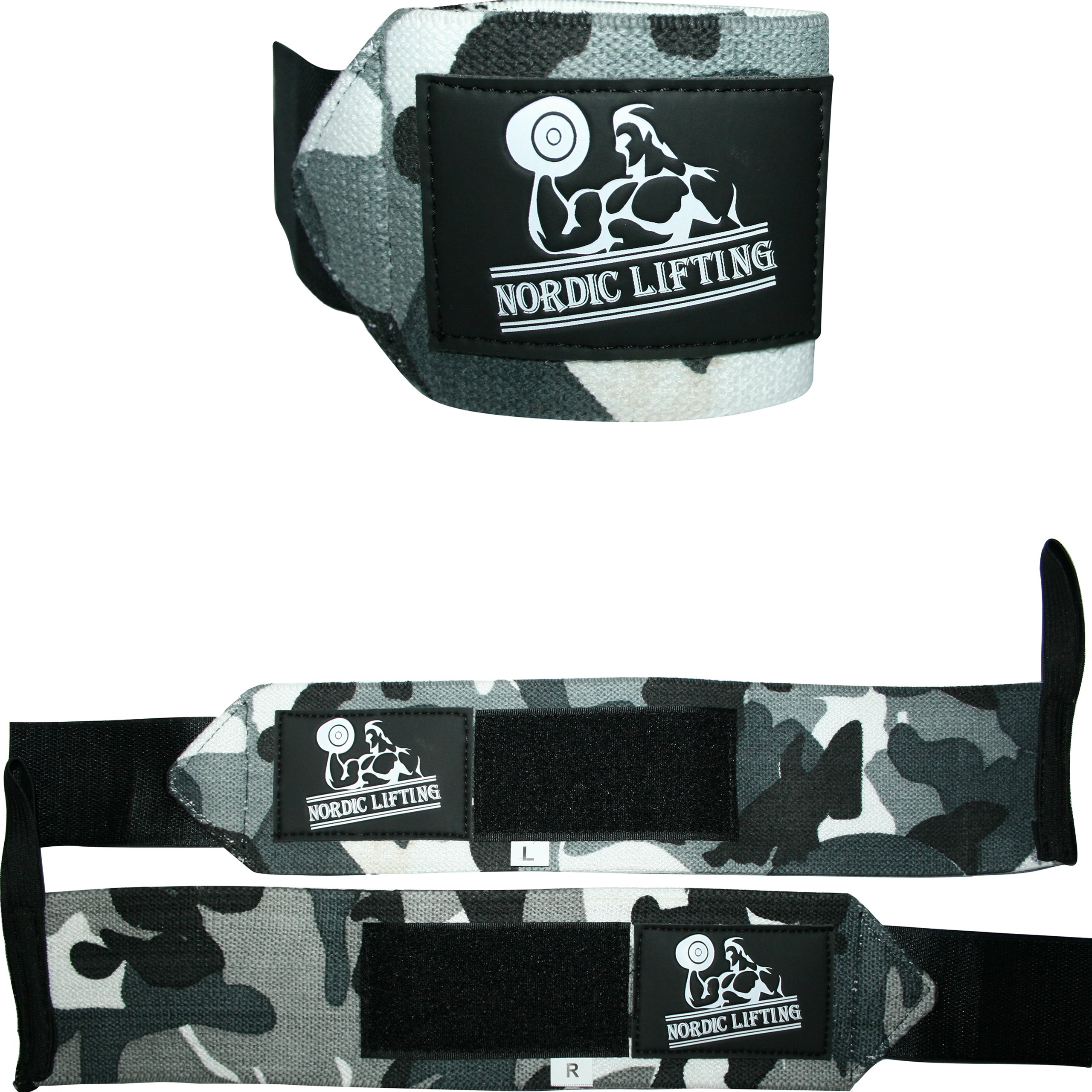 Wrist Wraps (1 Pair/2 Wraps)for Weightlifting/Cross Training/Powerlifting/Bodybuilding-Women & Men-Premium Quality Equipment & Accessories Avoid Injury During Weight Lifting-(CamoGrey)-1 Year Warranty