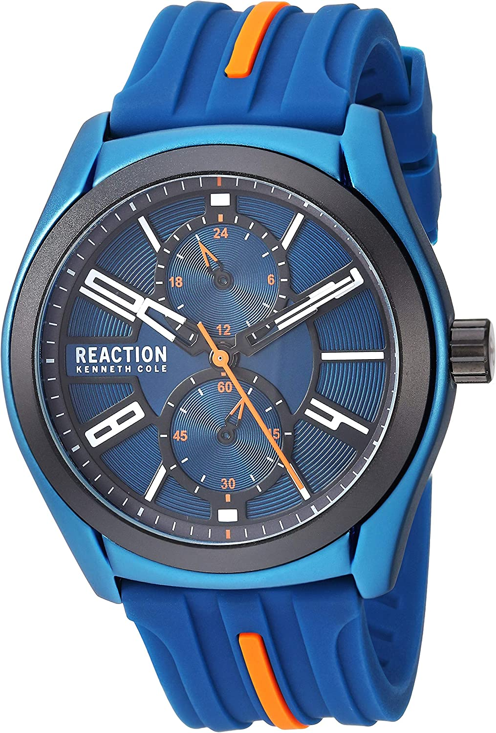 Kenneth Cole REACTION Men s Dress Sport Japanese-Quartz Watch with Silicone Strap, Blue, 21.2 Model RK50900002