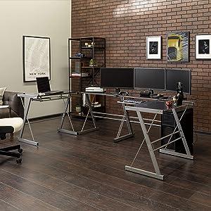 Walker Edison Modern Corner L Shaped Glass Computer Writing Gaming Gamer Command Center Workstation Desk Home Office, 2 Pack, Smoke Grey