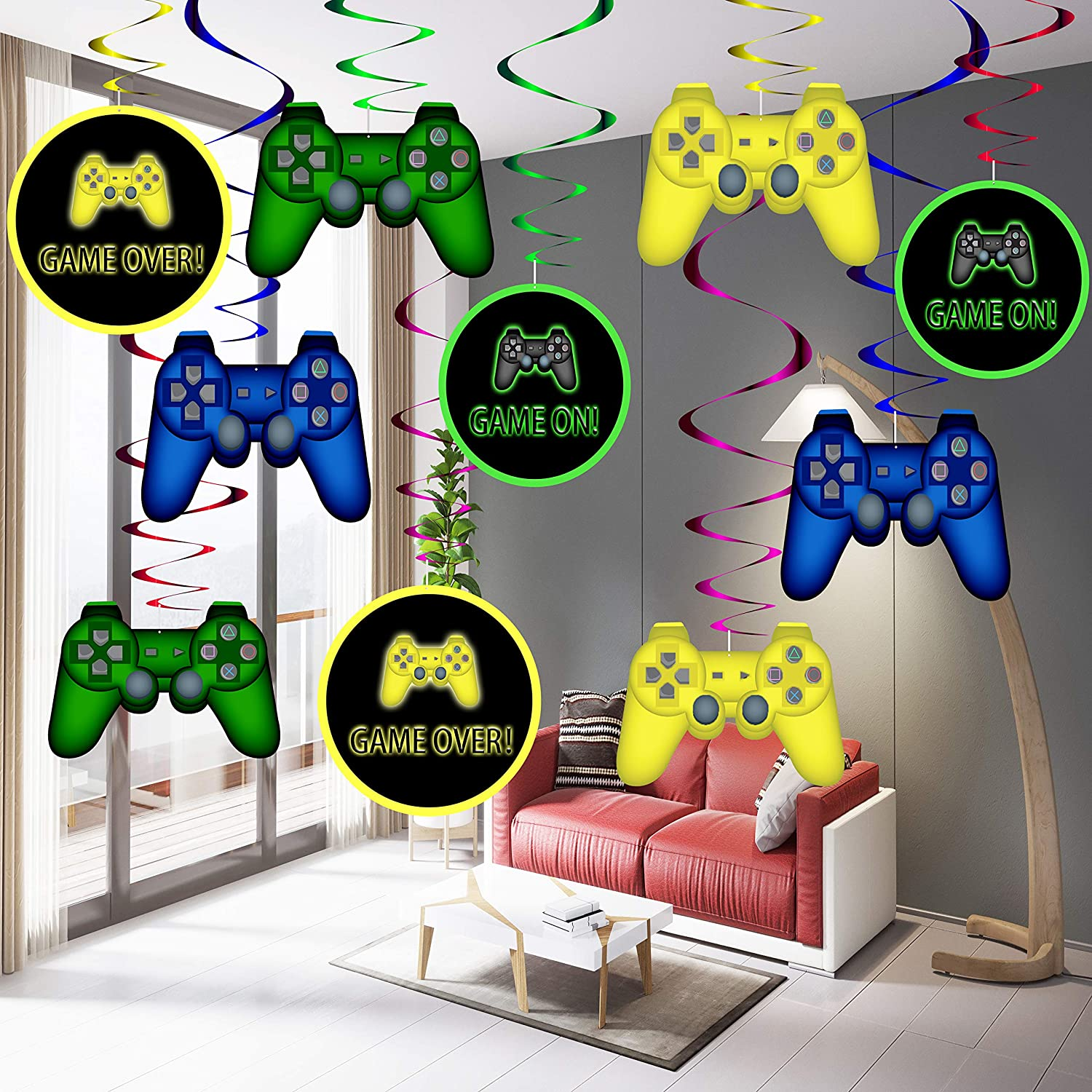 Amazon Com 30ct Video Game Hanging Swirl Decorations Video Game Party Decorations Video Game Themed Birthday Party Supplies Toys Games