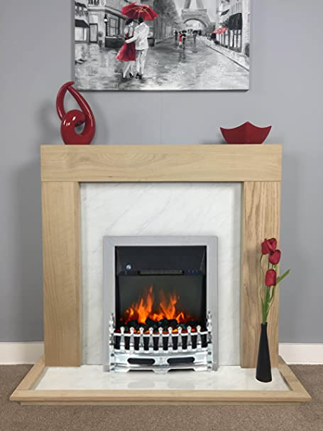 Natural Light Oak White Marble Effect Electric Fireplace Fire