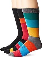K. Bell Socks Men's 3 Pack Bright Stripes Crew