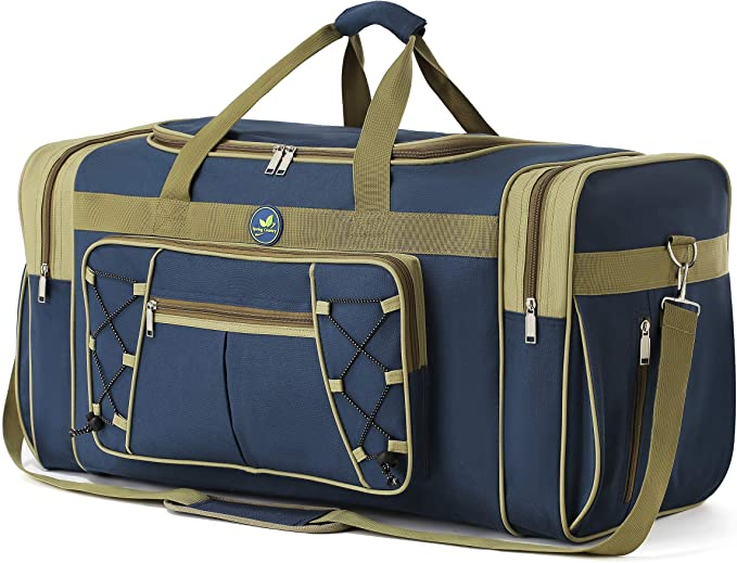 Travel Duffle Bags For Men Weekender Over Night Carry On Bag Lightweight Extra Large Oxford Duffel Gym Sturdy Luggage Water Proof For Men Women 26 Blue Gold Travel Duffels