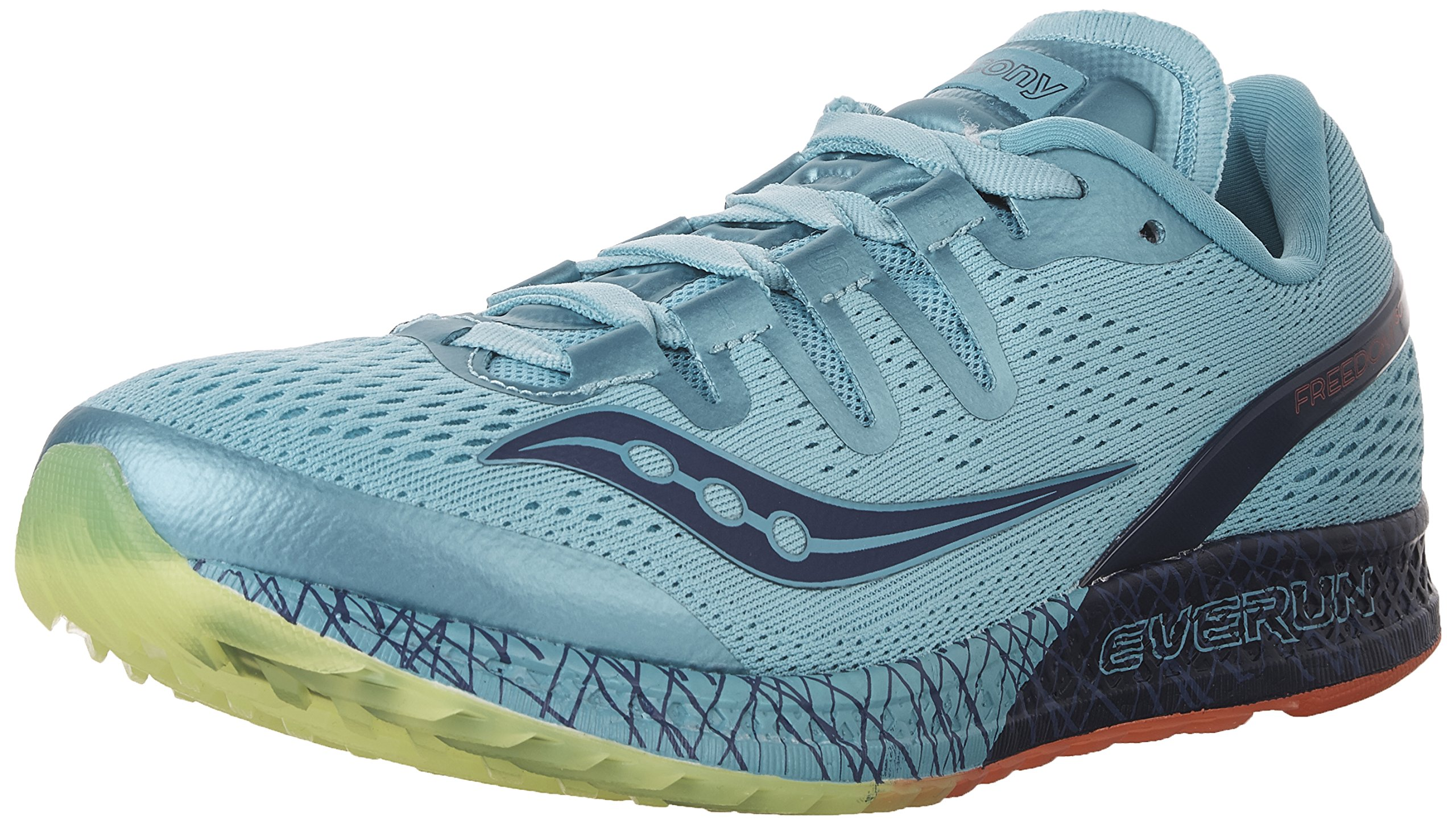 Saucony Women's Freedom ISO Running Shoe, Blue/Citron, 8.5 B(M) US