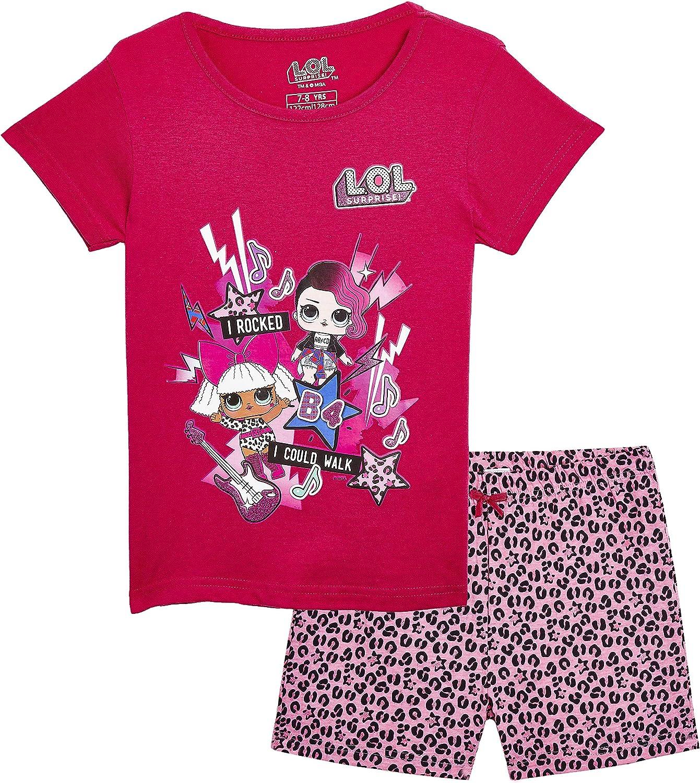 5-6 Anni, Rock Band PJ L.O.L Surprise Camicia da Notte Pigiama Maniche Corte Estivo Bambina Confetti Pop Abiti da Notte per Bambine
