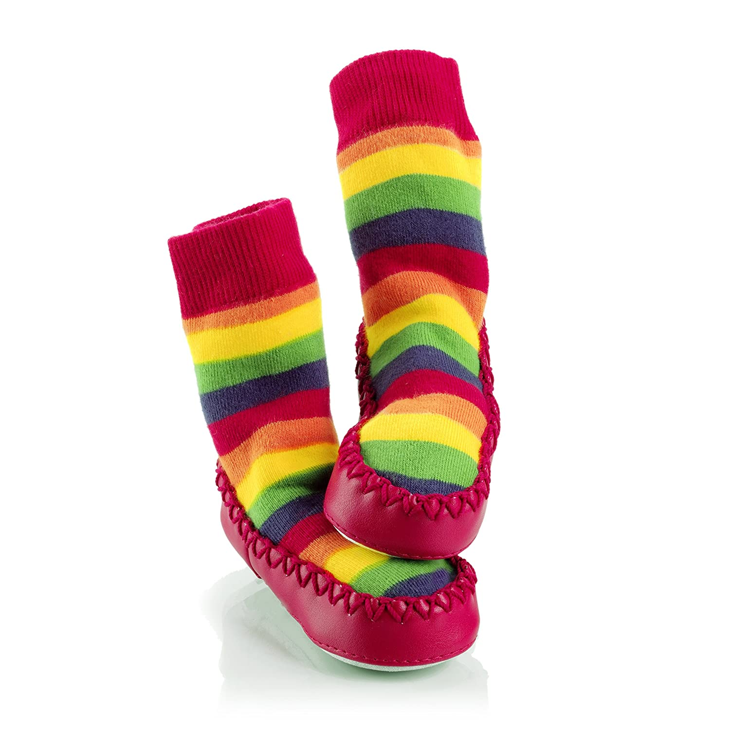Mocc Ons Baby Infant Slipper Socks 18-24 Months Rainbow Stripe Sock Ons MOCCONRB18-24 B0079NEAX4