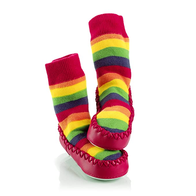 Mocc Ons Moccasin Style Slipper Socks, Rainbow Stripes - 6-12 Months