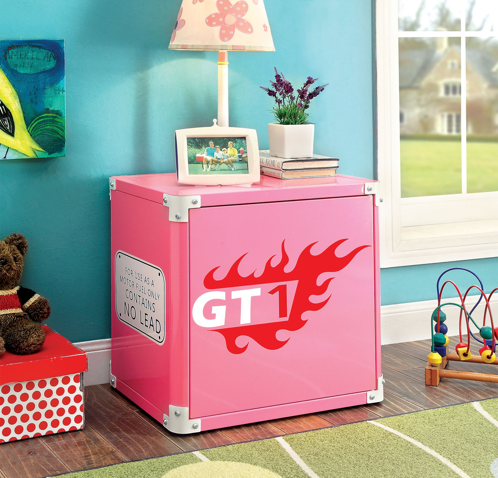 HOMES: Inside + Out ioHOMES Antonio Flame-Decaled Pink Metal Nightstand, Pink