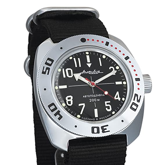Vostok Militar ruso Diver para hombre de anfibios Amphibia Reloj de pulsera Negro Nailon # 71647: Amazon.es: Relojes