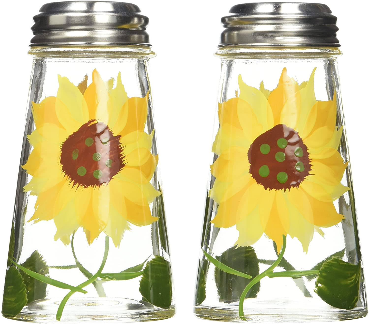 Grant Howard 39013 Hand Painted Tapered Salt and Pepper Shaker Set, Sunflowers, Yellow, 2,