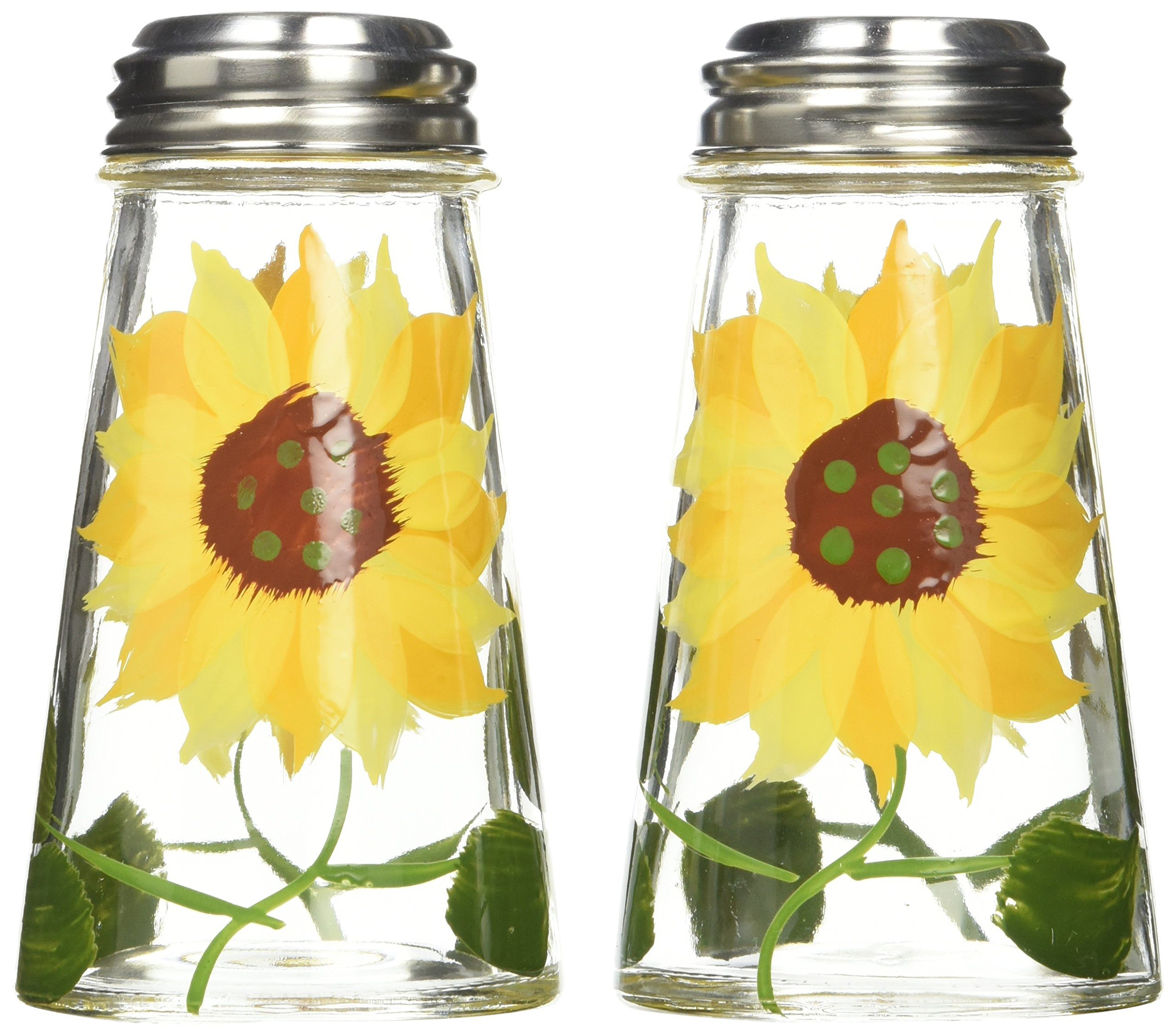 Grant Howard 39013 Hand Painted Tapered Salt and Pepper Shaker Set, Sunflowers, Yellow, 2, by Grant Howard