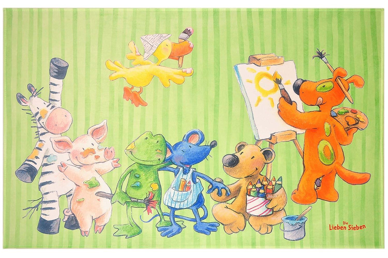 Unbekannt Die Lieben Sieben Kinderteppich Weich und Soft, 140x200 cm Farbe Grün Teppich mit Bildmotiv für Jungen und Mädchen, Kinderzimmer-Teppich Öko-Tex zertifiziert