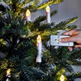 Pack of 20 Battery Operated Remote Control LED Flameless Christmas Candles with Tree Clips