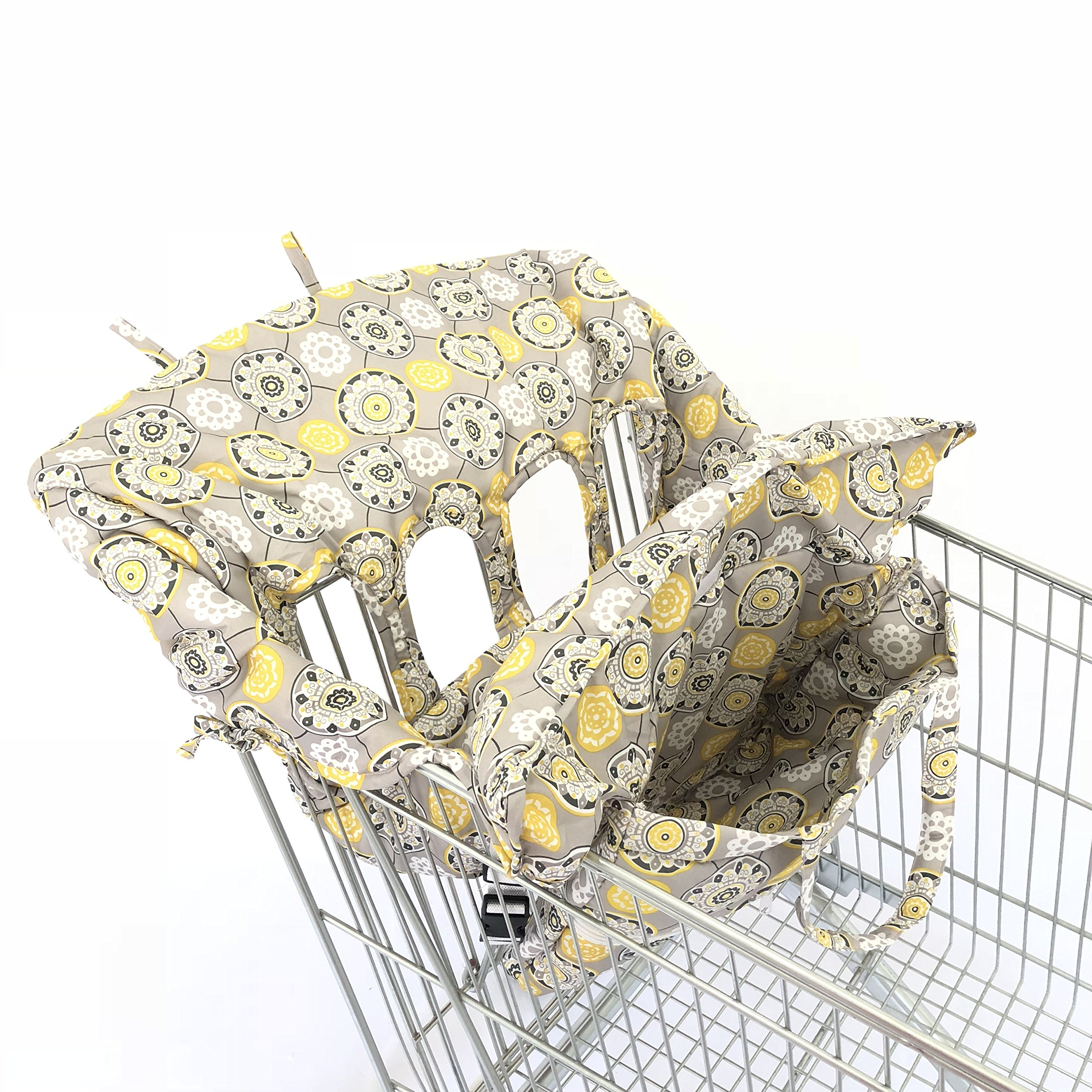 SEALOVESFLOWER 4 Leg Holes X-LARGE Size With Elastric Yellow Flower Cushion For Twin Double Shopping Cart Cover for Baby Siblings which can be folded into one sling bag