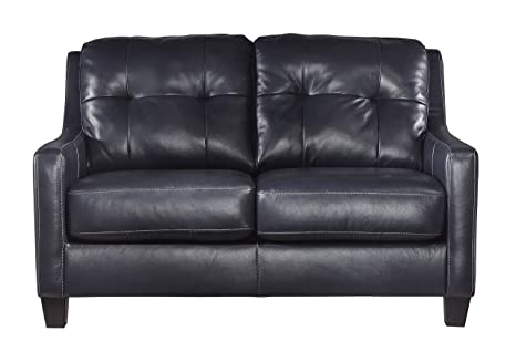 Ashley Furniture Signature Design - OKean Contemporary Leather Upholstered Tufted Back Loveseat - Navy