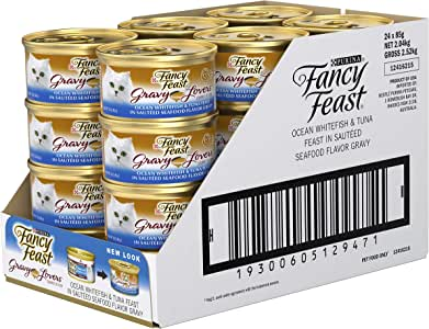 Fancy Feast Gravy Lovers Whitefish & Tuna Wet Cat Food, Adult, 24x85g
