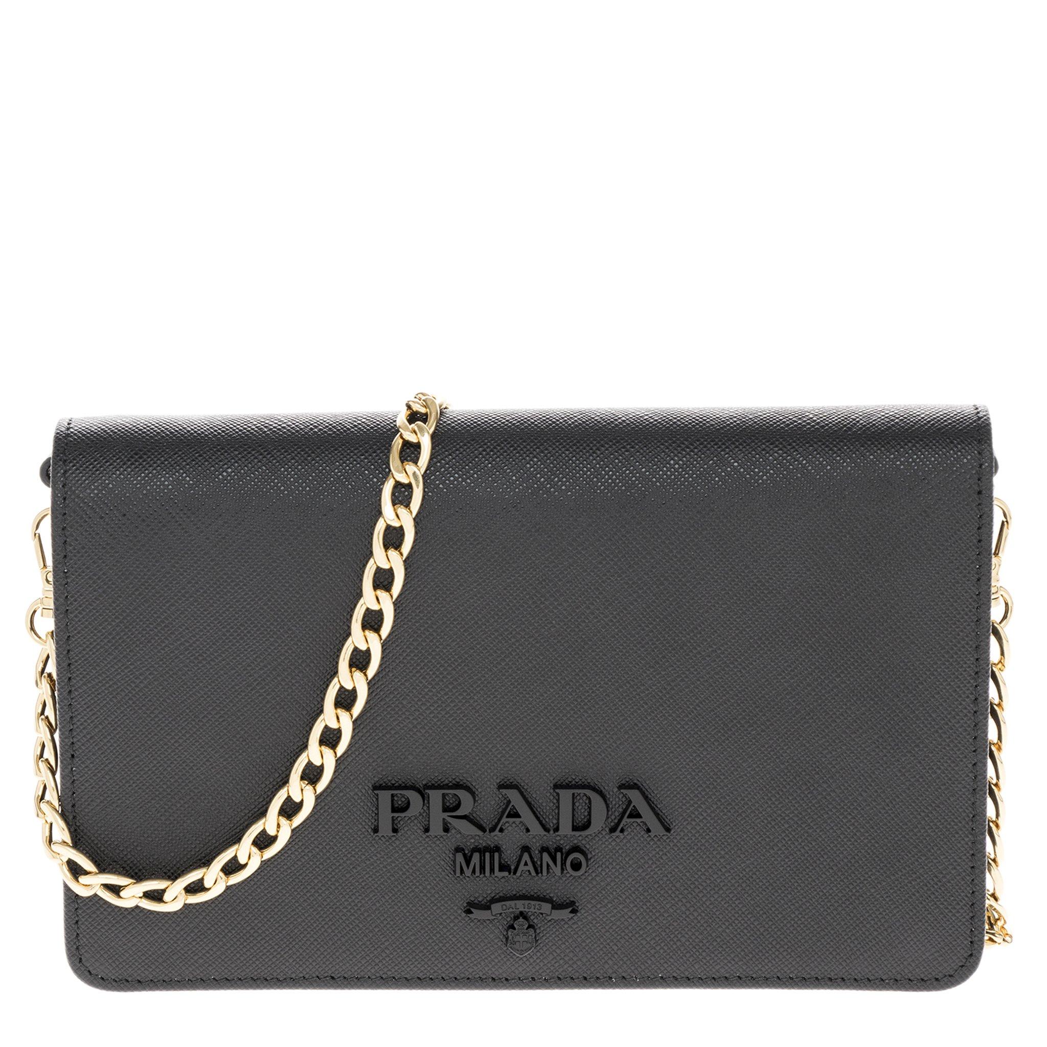 Prada Women's Saffiano Leather Wallet Bag Black