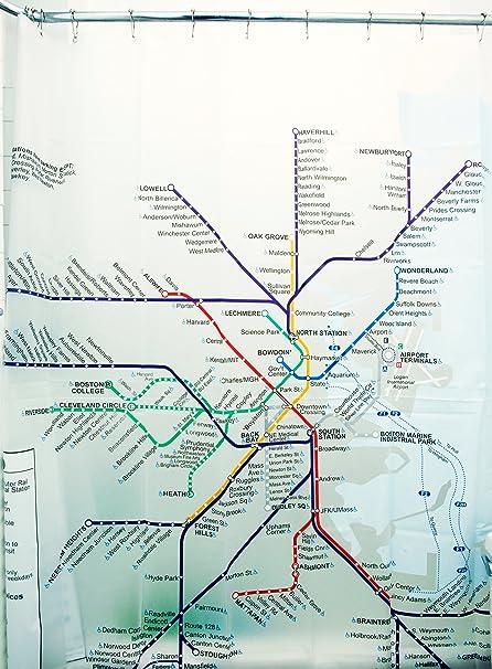 Boston Subway Map To Geography.Izola Peva Water And Mold Resistant Shower Curtain Boston Subway