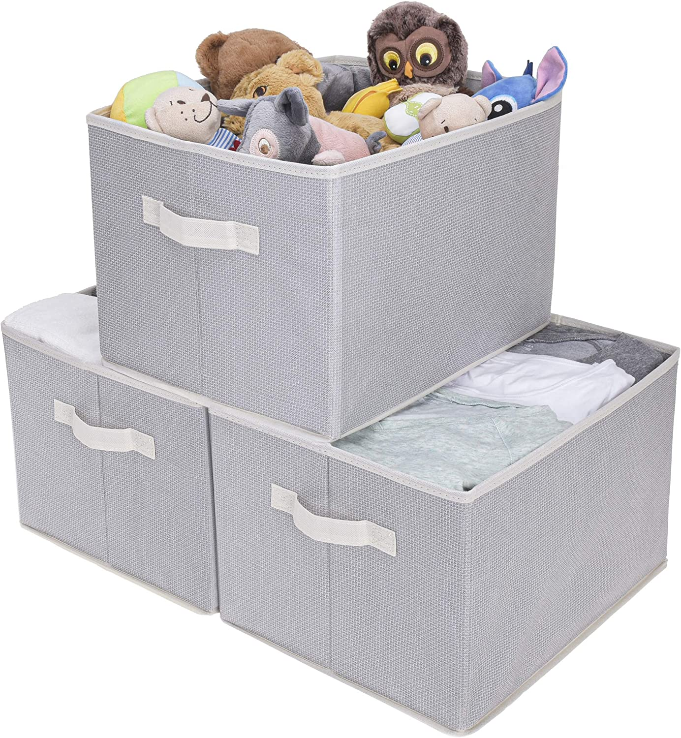 GRANNY SAYS Storage Bin for Shelves, Fabric Closet Organizer Shelf Cube Box with Handle Home Office Storage Baskets, Extra Large, Gray/Beige, 3-Pack