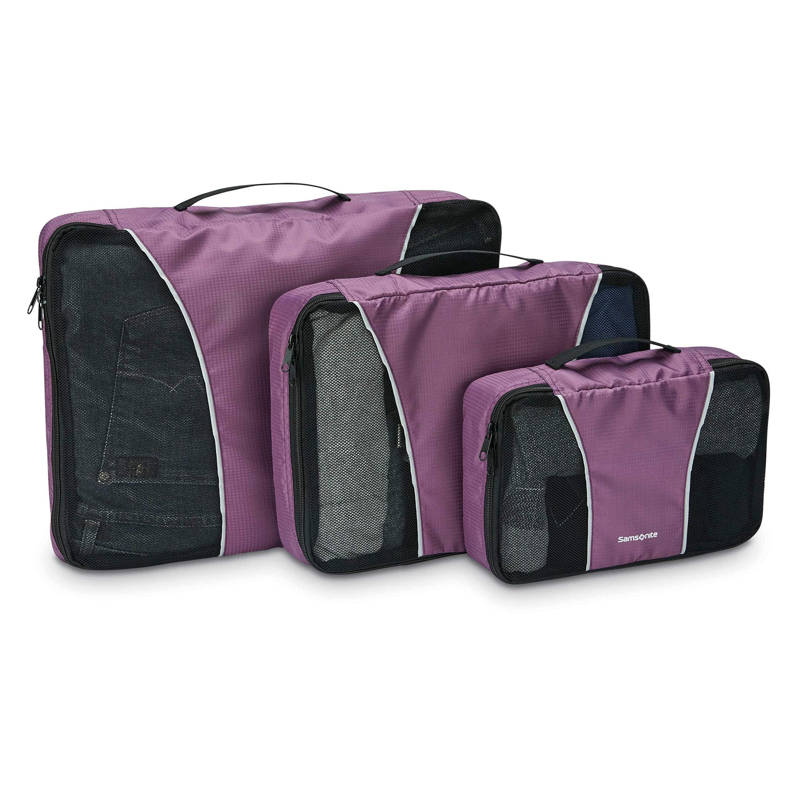 Samsonite 3 Piece Packing Cube Set Travel Tote, Purple, One Size by Samsonite