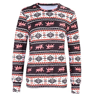 c644cc702c3f72 Festival Christmas Eve Fair Isle Baroque Ethnic Tribal Aztec Long Sleeve  Sweatshirt T-Shirt Top