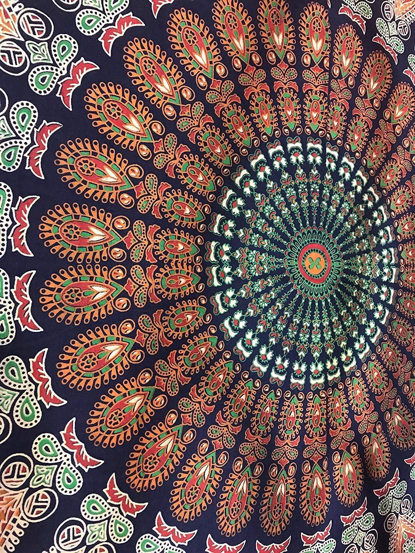 150 a 150 cm Knowooh India Asciugamano da Spiaggia Rotondo Mandala Hippie Asciugamano da Spiaggia Rotondo Stampa Hippie Tapestry Beach Picnic Throw Yoga Mat Asciugamano Coperta