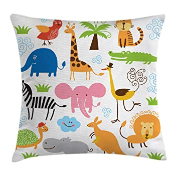 Ambesonne Animal Throw Pillow Cushion Cover, Giraffe Elephant Zebra Turtle Kids Nursery Baby Themed Cartoon Comic Print, Decorative Square Accent ...