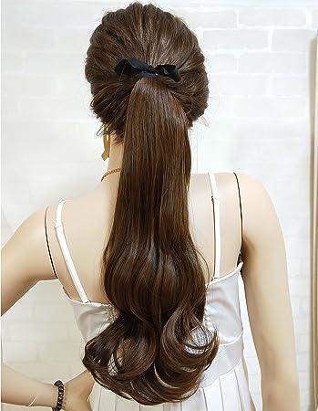 amazon com k ryssma drawstring ponytail clip in brown synthetic