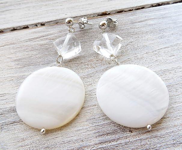 realmente cómodo grandes ofertas en moda pensamientos sobre Pendientes de nacar blanco y cristal de roca, pendientes de ...