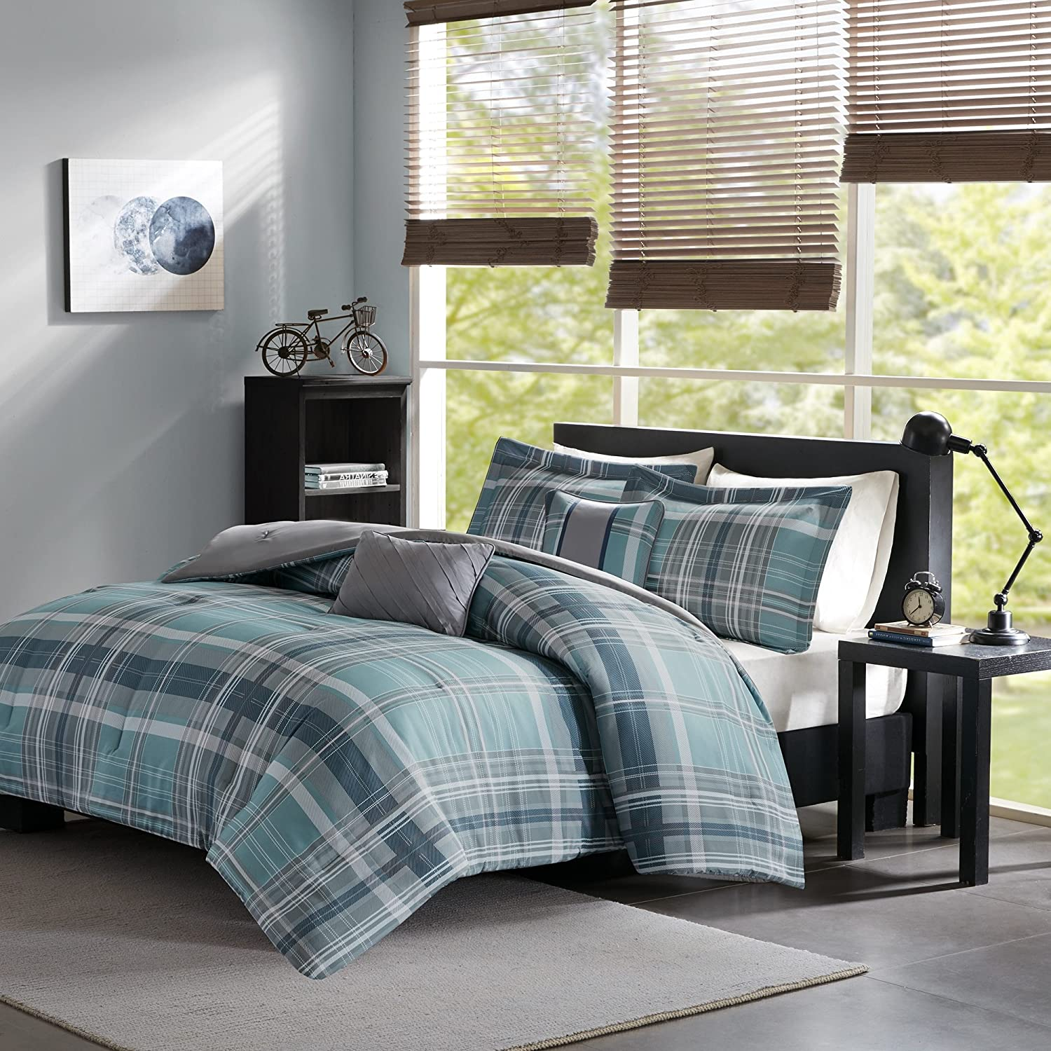 3 Piece Grey Teal Blue Green Madras Plaid Quilt Full Queen Set, All Over Patchwork Checkered Bedding, Tartan Check Patch Work Lodge Cabin Themed, Country Woven Pattern, Gray Turquoise