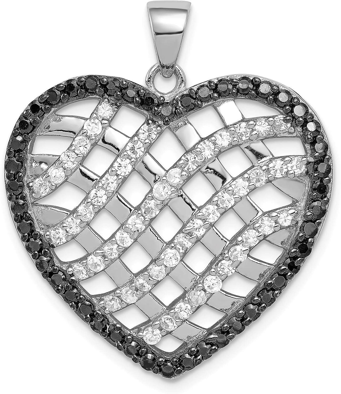 Black and White CZ Lattice Heart Pendant in 925 Sterling Silver 33x28mm