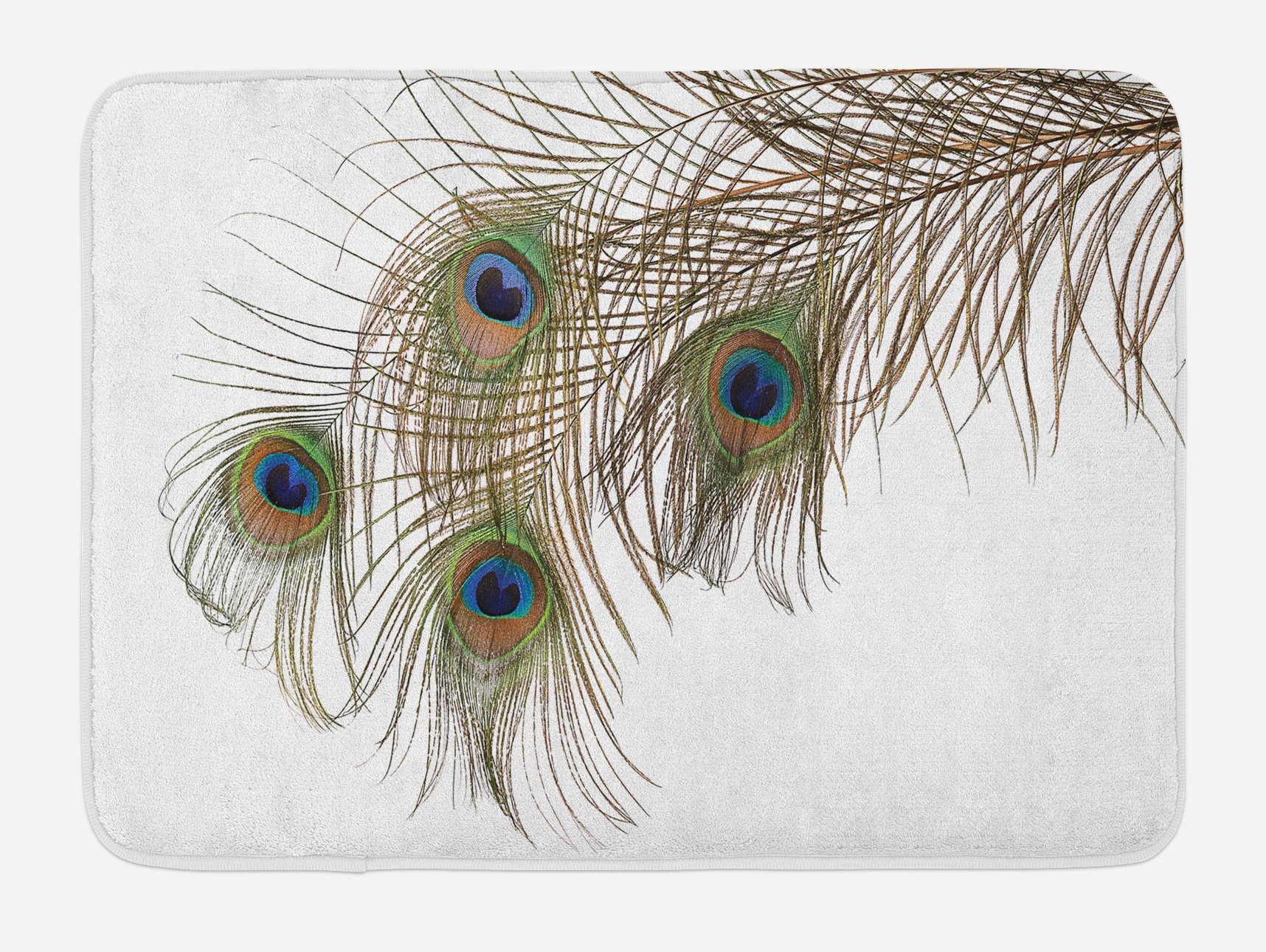 Lunarable Peacock Bath Mat, A Feather of Peacock Power Animal Rising Out of The Ashes Symbol Creature Artsy, Plush Bathroom Decor Mat with Non Slip Backing, 29.5 W X 17.5 W Inches, White Green