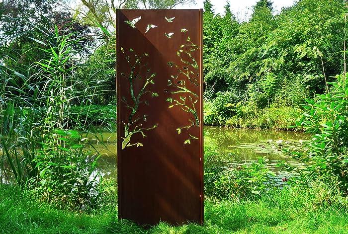 Gartenwand Sichtschutz Baum3 Rost Stahl 75x195 Cm Amazon De Handmade