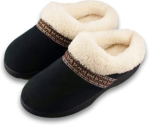Roxoni Women/'s Slippers Suede Memory Foam Clog Slippers Fur Lined House Shoes
