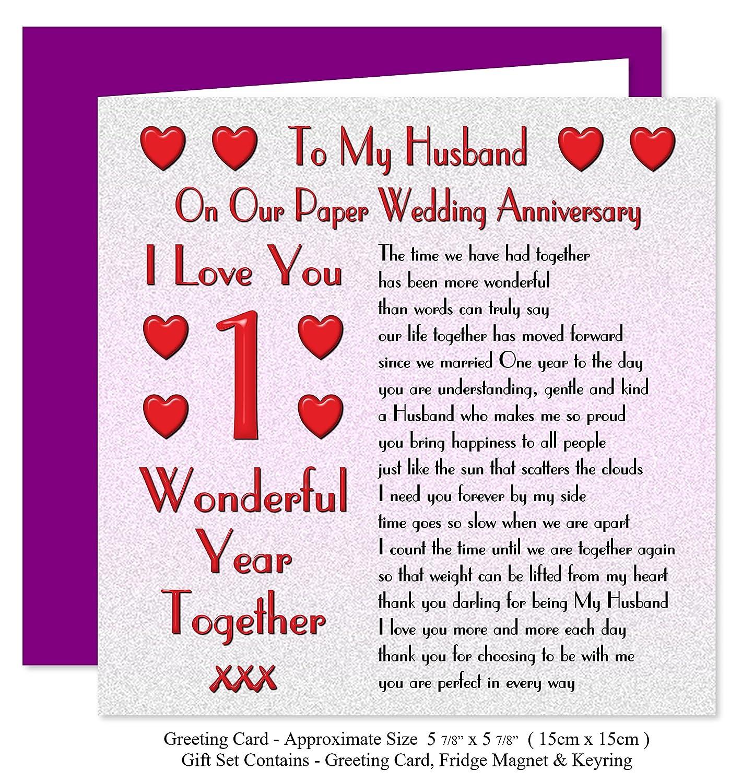 My Husband 1st Wedding Anniversary Gift Set Card Keyring Fridge