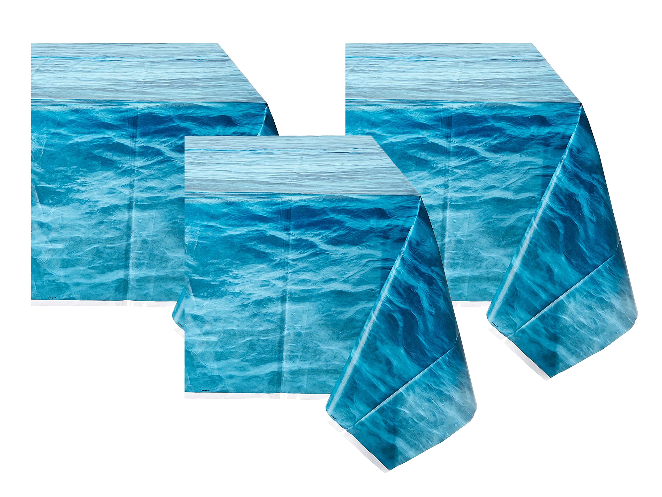Ocean Waves Plastic Tablecloth, 108'' x 54'' (3 pack) by Unique