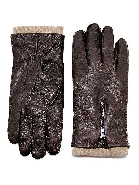 a25efd47c84b2 YISEVEN Herren Handschuhe aus Hirschleder mit Kaschmirfutter von Handgenäht  Gürtel