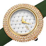Burgi Swarovski Crystals Encrusted Quilted Dial - Swarovski Crystals Bezel with Satin Leather Strap Women's Watch - Mothers Day Gift - BUR207