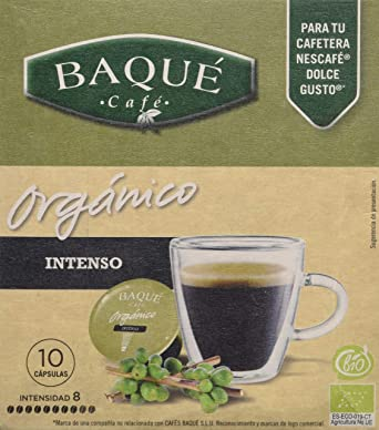 Cafés Baqué - 10 Capsulas Compatibles Dolce Gusto. Café Organico Intenso